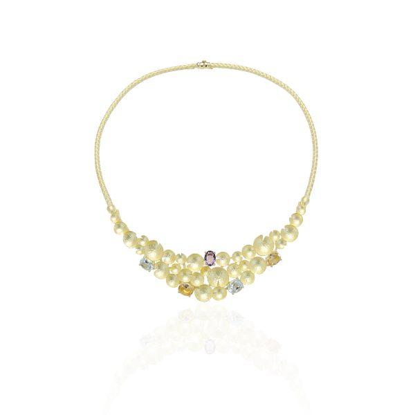 collana in oro giallo o bianco con pietre semipreziose