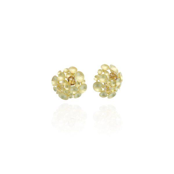 orecchino in oro giallo o bianco con pietre semipreziose